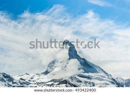 The Matterhorn is a mountain of the Alps and vintage tone