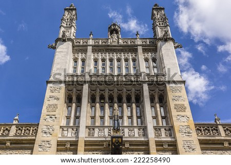 The Maughan Library (design by Sir James Pennethorne, 1851) is main research library of King's College London - part of Strand Campus. Neo-Gothic building located on Chancery Lane in City of London. - stock photo