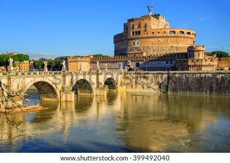 The Mausoleum of Hadrian, known as Castel Sant'Angelo, reflecting in Tiber river, Rome, Italy. It served the popes as fortress. - stock photo