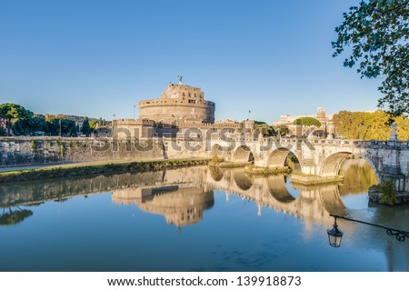 The Mausoleum of Hadrian, usually known as the Castle of the Holy Angel (Castel Sant Angelo), a towering cylindrical building in Parco Adriano, Rome, Italy