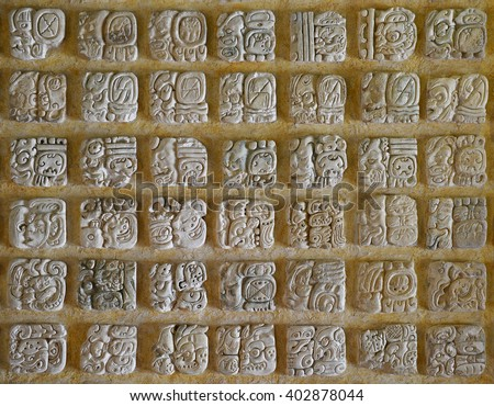 The Mayan alphabet. - stock photo