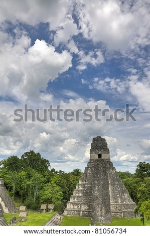 The Mayan Ruins of Tikal in Belize - stock photo