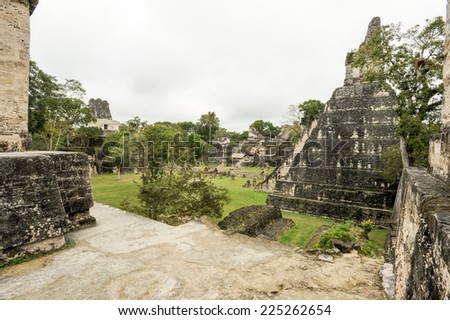 The Mayan ruins of Tikal on Guatemala - stock photo