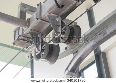 The mechanism of a support of the lift of a cable car - stock photo