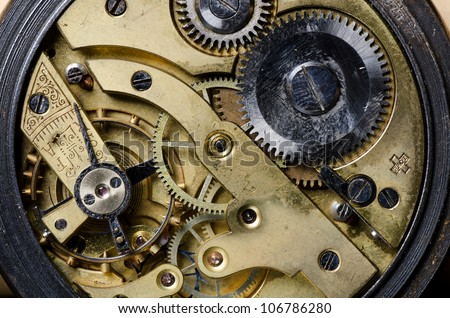The mechanism of an old watch close-up