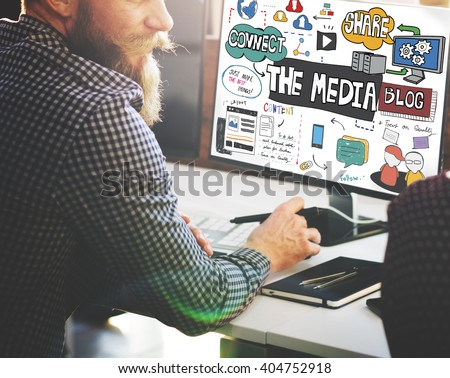 The Media Social Networking Online Connection Concept - stock photo