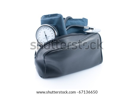 The medical device for blood pressure measurement on white background