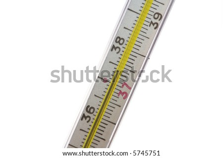 The medical thermometer with a heat on a white background