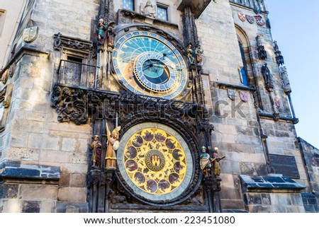 The medieval astronomical clock in the Old Town square in Prague - stock photo