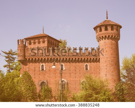 The Medieval Castle in Parco del Valentino Turin Italy vintage