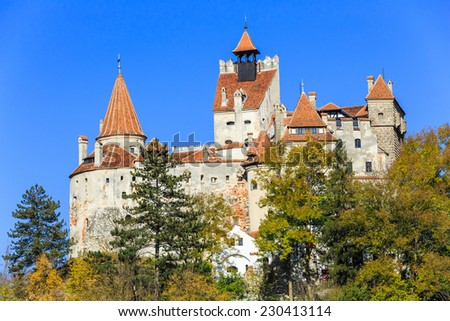 The medieval Castle of Bran, known for the myth of Dracula. Transylvania, Romania - stock photo