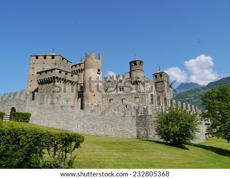 The medieval castle of Fenis in the Aosta valley in Italy - stock photo