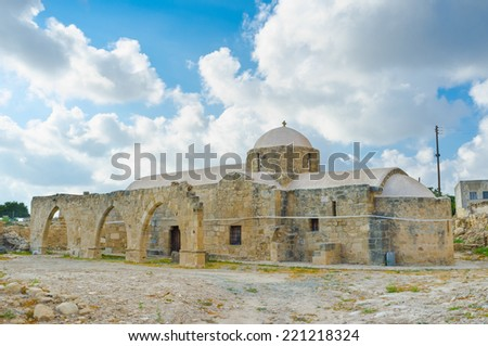 The medieval Church of Panagia Katholiki located in the famous village Kouklia next to the archaeological site and Lusignans Manor, Cyprus. - stock photo