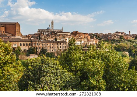 The medieval city of Siena in southern Tuscany, Italy - stock photo