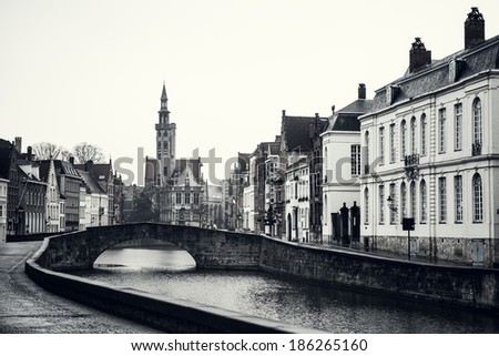 The medieval fairy tale town of Brugge - stock photo
