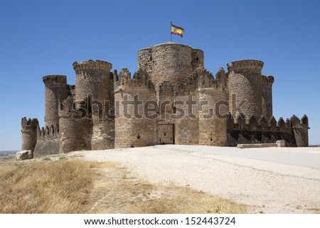 The medieval fortress in the town of Belmonte in the La Mancha region of central Spain. - stock photo