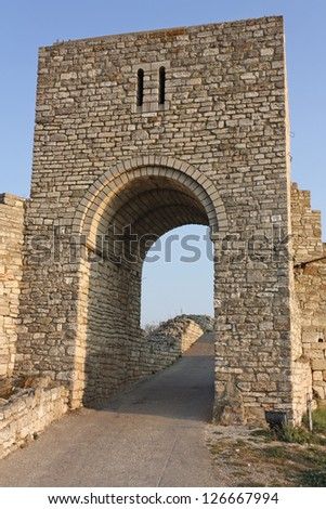 The medieval fortress of Kaliakra. Bulgaria. Cape of Kaliakra is a long and narrow headland in the Southern Dobruja region of the northern Bulgarian Black Sea Coast - stock photo