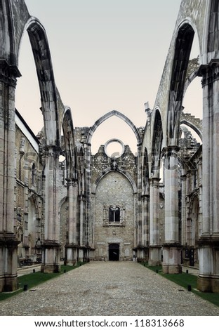 The medieval gothic convent was ruined by the 1755 Lisbon Earthquake, Portugal. - stock photo