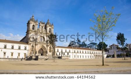 "The medieval gothic monastery of ""Real Abadia de Santa Maria de Alcoba�§a"", home of the ancient order of Cister, Alcobaca, Silver Coast, Portugal - stock photo"