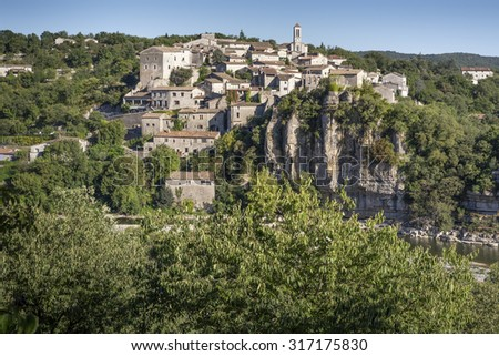 The medieval small town of Balazuc, France - stock photo