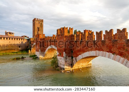 The medieval stone bridge Scaligero in Verona, Italy, next to the Castelvecchio. Across the river Adige, built in the 14th century.