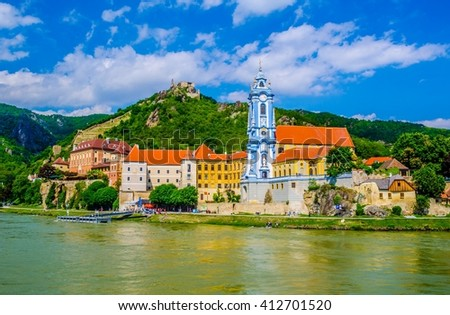 The medieval town of Durnstein along the Danube River in the picturesque Wachau Valley, a UNESCO World Heritage Site, in Lower Austria - stock photo