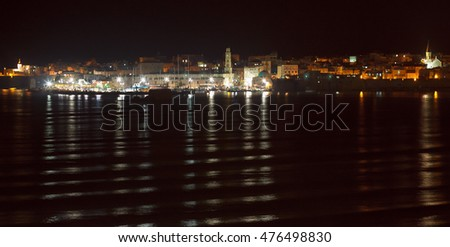 The mediterranean historic city of Akko in north Israel at midnight
