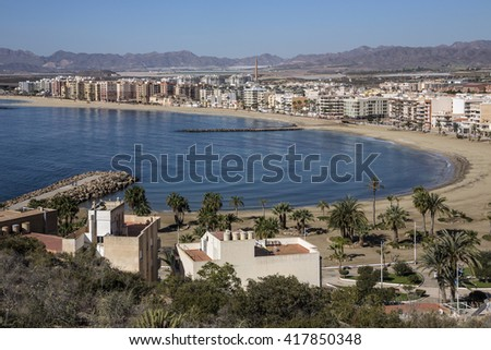 The Mediterranean port of Aguilas on the Costa Calida in Murcia in the southeast of Spain - stock photo