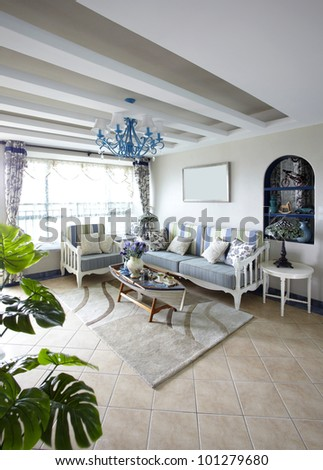 The mediterranean-style living room - stock photo