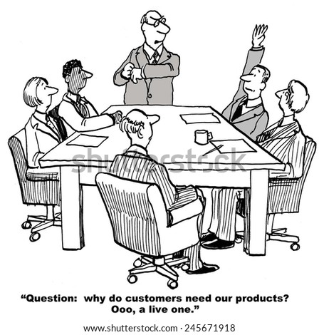 The meeting leader is asking why customers need the company's products and, with arm raised, has a live one. - stock photo