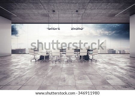 The meeting room in a luxury building - stock photo