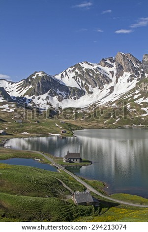 The Melchsee is a mountain lake in the small ski and summer resort Frutt in Obwalden in Central Switzerland. - stock photo