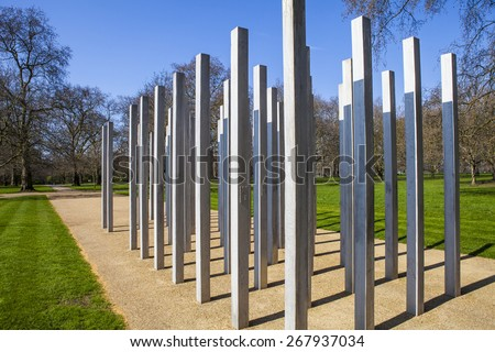 The Memorial in Hyde Park in memory of the victims of the 7th July London Bombings. - stock photo