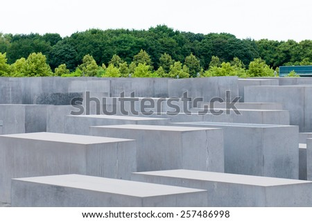 The Memorial to the Murdered Jews of Europe, also known as the Holocaust Memorial. - stock photo