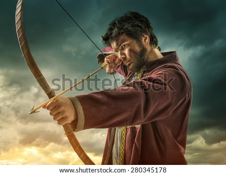 The men's archery target - close - stock photo