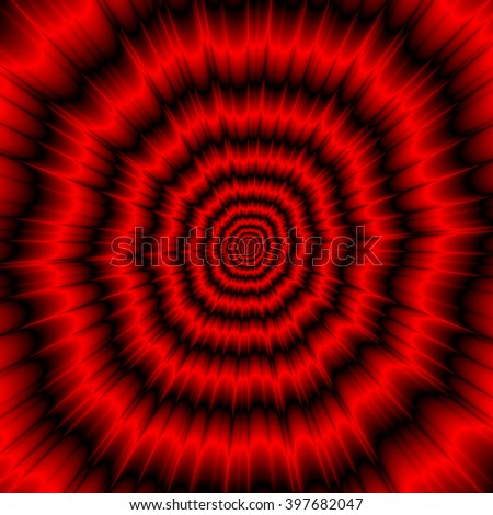 The Menacing Explosion / An abstract fractal image with an explosive design in red and black.