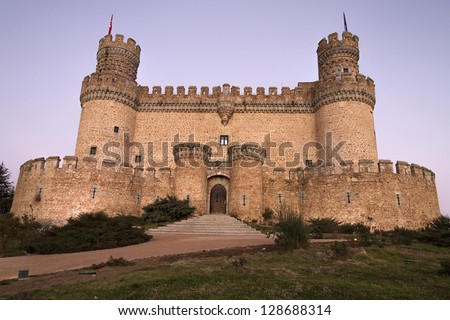 The Mendoza Castle, situated in Madrid region, is a fortress-palace from the 15th century in Manzanares el Real - stock photo
