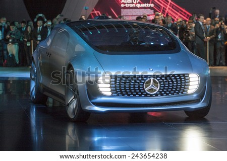 The Mercedes-Benz new concept F015 Luxury in Motion at The North American International Auto Show January 12, 2015 in Detroit, Michigan. - stock photo
