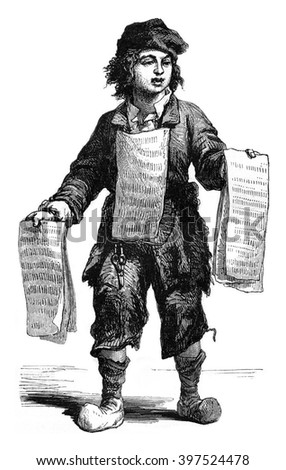The Merchant of Pins 1774, vintage engraved illustration. Magasin Pittoresque 1869.