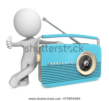 The Message. Dude 3D character with Blue retro Radio. Thumb up.