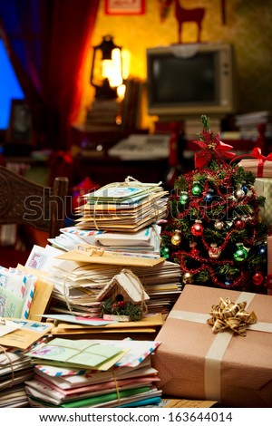 The messy room of Santa Claus - stock photo