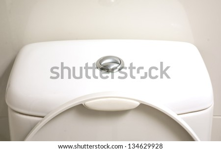The metal button of toilet compose of normally and water saving button - stock photo