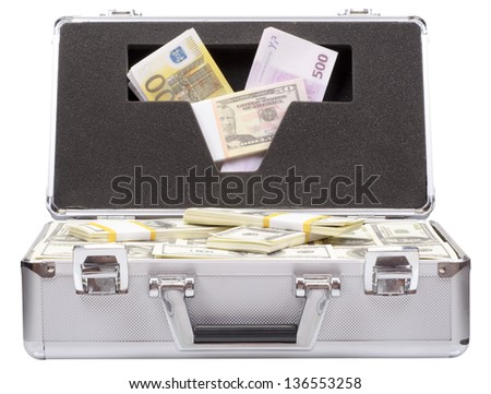 The metal case with dollars and euros isolated on a white background - stock photo