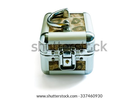 The metal casket with the lock isolated on a white background