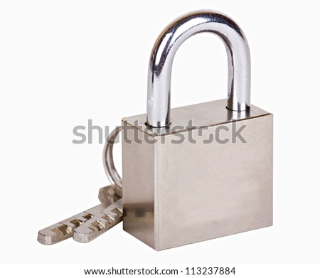 The metal closed padlock with two keys isolated on white - stock photo