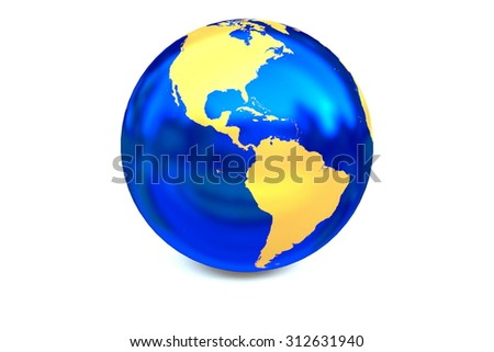 The metal globe displays the golden continent of America isolated on the white background. - stock photo