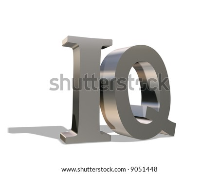 The metal letters I and Q rejecting a shadow, on a white background
