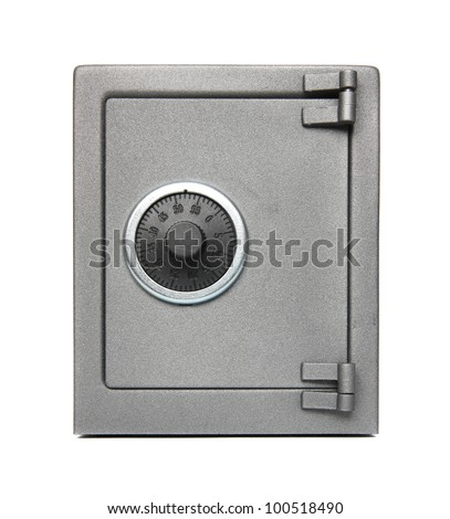 The metal safe on a white background. - stock photo