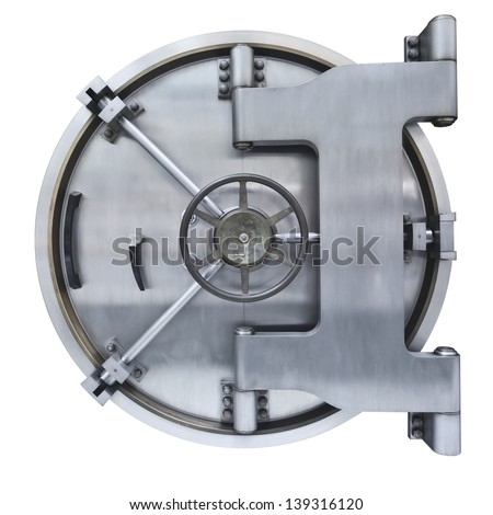 The metallic  Bank vault door on a white background  - stock photo