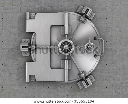 The metallic bank vault door on the concrete wall. Concept of safety. - stock photo